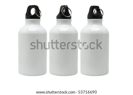 Three metal water containers arranged on white background - stock photo