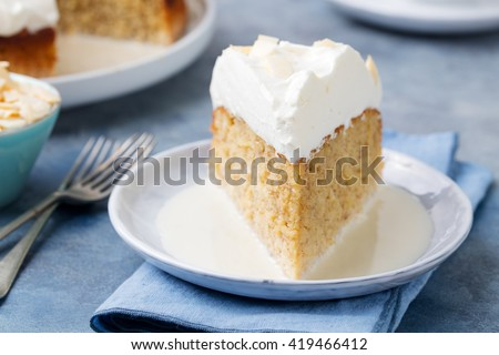 Three milk cake, tres leches cake with coconut. Traditional dessert of Latin America - stock photo