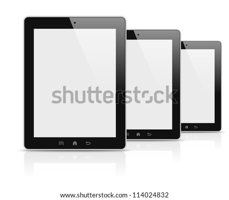 Three modern personal electronic tablets