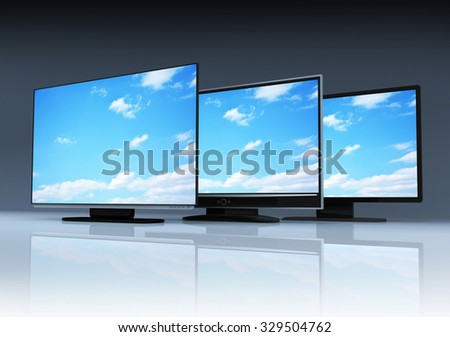 Three modern TV and sky (done in 3d) - stock photo