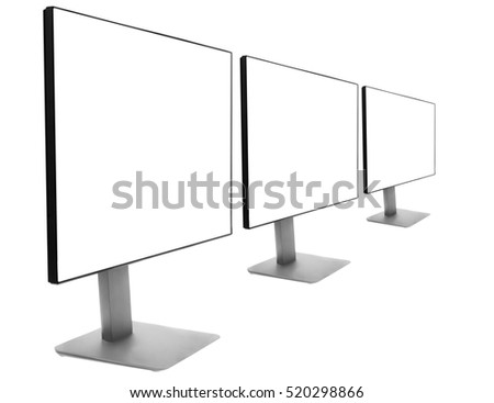Three monitors in a row, isolation on a white background