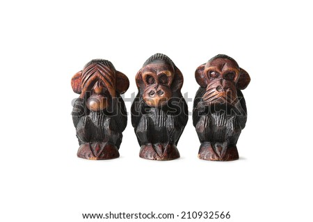 Three monkeys, Hear No Evil, See No Evil, Speak No Evil! - stock photo
