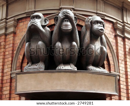 Three Monkeys With Different Faces - No Speak, No See, No Hear - stock photo