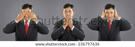 Three monkeys with Expression - stock photo