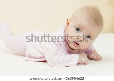 three months old baby girl - stock photo