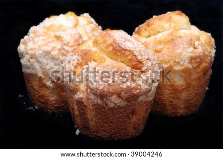 Three muffins on a black background