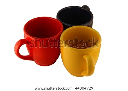 Three mugs isolated on pure white - stock photo