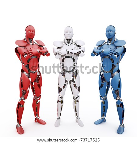 Three multicolored robots on the white background - stock photo