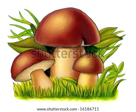 Three mushrooms between grass and leaves. Mixed media illustration. - stock photo