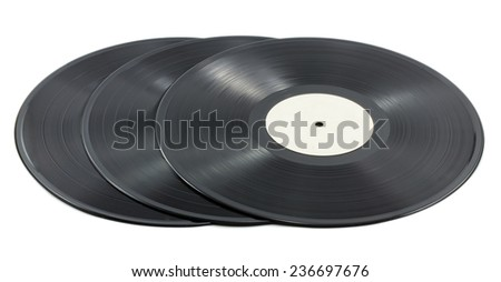 Three musical plate isolated on white background - stock photo