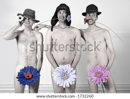 Three naked men stand with flowers covering their genitals.