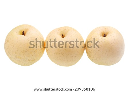 Three nashi pear isolated on white background. - stock photo