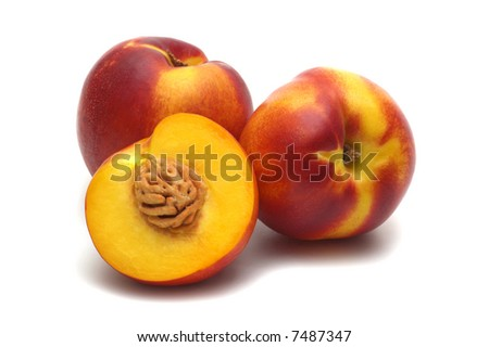 three nectarines on white background - stock photo