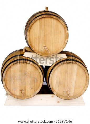 Three new barrels for wine isolated on white background - stock photo