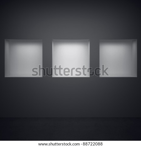 Three niches with lighting - stock photo