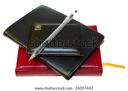 Three notebooks (organizers) and jell pen on isolated background.