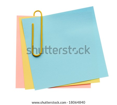 Three notes with one paper-clip isolated on white background - stock photo