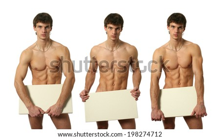 Three nude muscular men covering with a copy space blank board isolated on white - stock photo