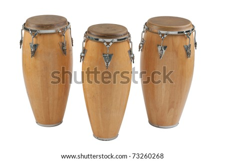Three of congas the percussion of music band - stock photo