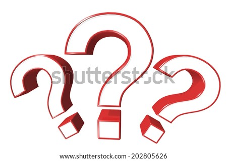 Three of red question marks isolated on white background