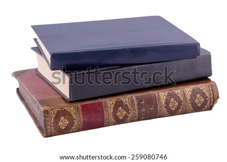 three old books isolated on white - stock photo