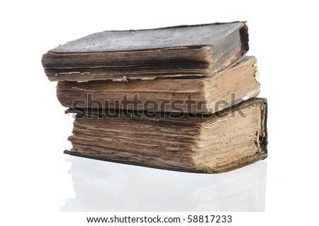 Three old books. Isolated on white background - stock photo