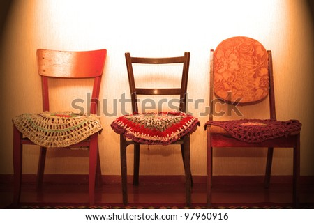 three old chairs - stock photo