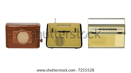 Three old fashioned radio-sets over white 1 - stock photo