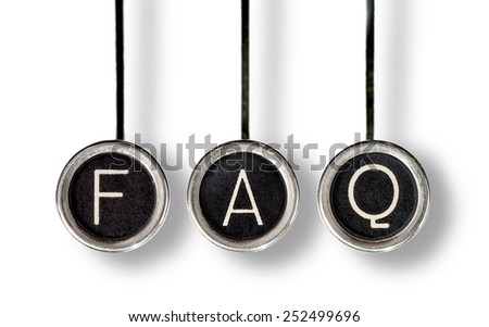 "Three old, scratched chrome typewriter keys with black centers and white letters spelling out, ""FAQ"".  Isolated on white."