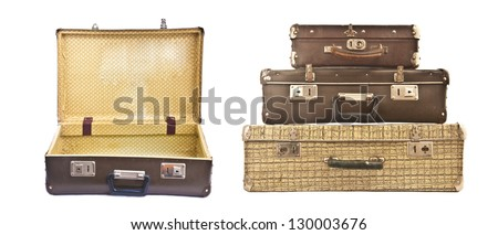 Three old suitcase stacked with different size, isolated on white. - stock photo