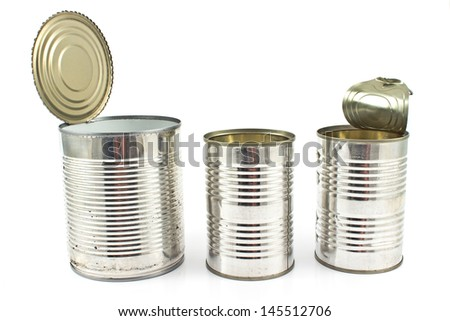Three open empty tin can isolated on white - stock photo