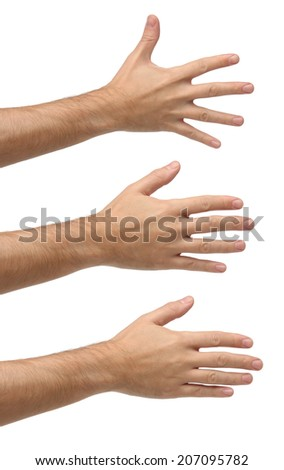 Three open hands on different positions. Isolated on white background - stock photo