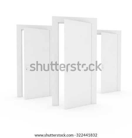 three open white doors with one in the forefront - stock photo
