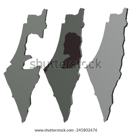 Three optional maps of Israel - stock photo