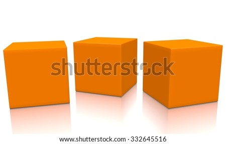 Three orange 3d blank concept boxes next to each other, with reflection, isolated on white background. Rendered illustration. - stock photo