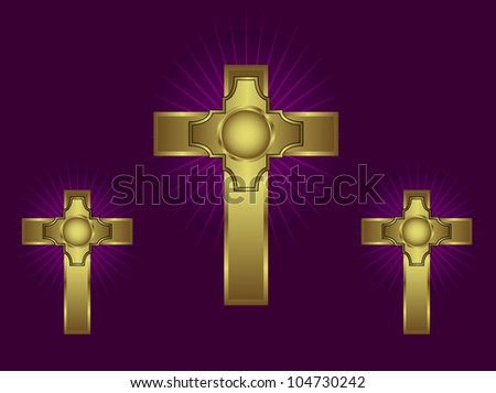 Three ornate gold crosses on a purple background with highlighted rays - stock photo