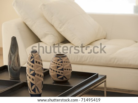 Three Ornate Vases On Wooden Table Stock Photo Image Royalty Free