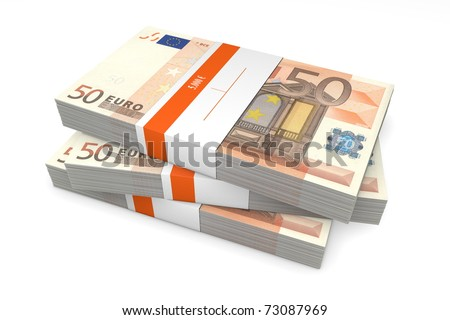 three packet of 50 Euro notes with bank wrapper - 5.000 Euros each - stock photo