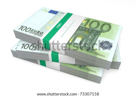 three packet of 200 Euro notes with bank wrapper - 10.000 Euros each - stock photo