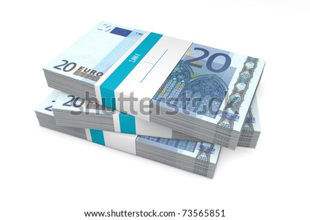 three packet of 20 Euro notes with bank wrapper - 2.000 Euros each - stock photo