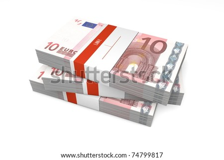 three packet of 10 Euro notes with bank wrapper - 1.000 Euros each - stock photo