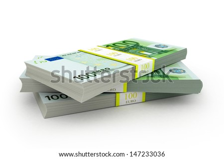 three packet of 100 Euro notes with bank wrapper - 10.000 Euros each, 3d - stock photo