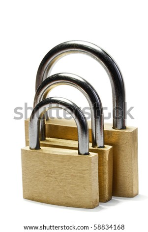 Three padlocks of different size isolated on white - stock photo