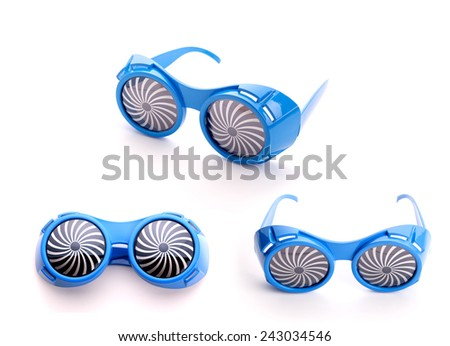 Three pair of blue glasses for party - stock photo