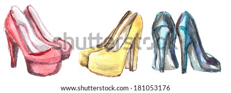 three pairs of colored shoes on a white background - stock photo