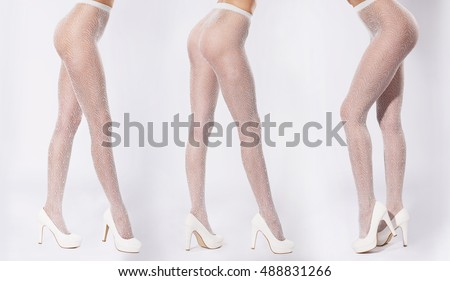 Three pairs of legs. Legs close-up in tights and white shoes with heels.