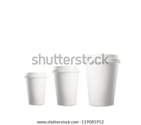 three paper cup of coffee - stock photo