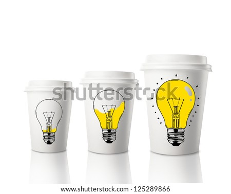 three paper cup of coffee and drawing lamp - stock photo