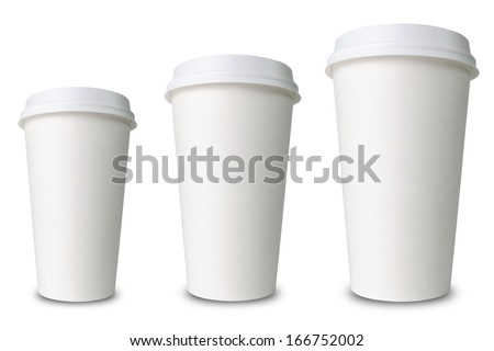 three paper cups isolated before white background - stock photo