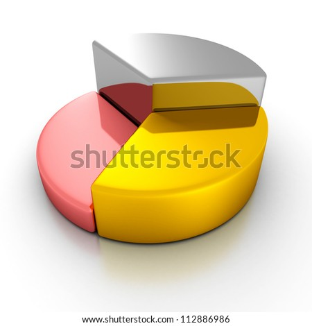 three parts business pie graph on white background - stock photo